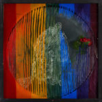 Heroic.Accident.Historic 2014 white ink, colored lights, objects in wooden box with glass 72x72