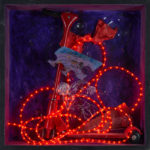 Heroic.Accident.Historic 2014 white ink, colored lights, objects in wooden box with glass 72x72 (2)