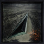 Way 2016 charcoal, colored lights , canvas,mirror ,wooden box with glass 88 x88 cm